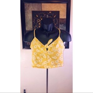 Yellow with flower crop top